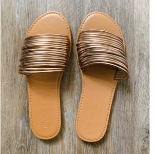 NWT copper / rose gold flat slip on slider sandals